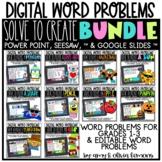 Digital Word Problem Activity: Solve to Create BUNDLE (SEE