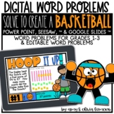 Digital Word Problem Activity: Solve to Create Basketball