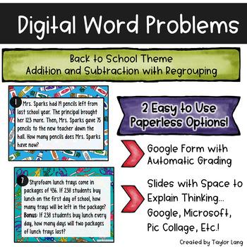 Digital Word Problems - Back to School - Google Form & Google Slides - Regroup