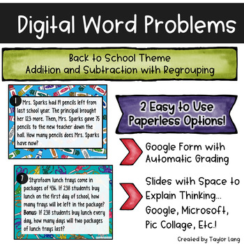 Digital Word Problems - Back to School Google Form & Google Slides- Add Subtract