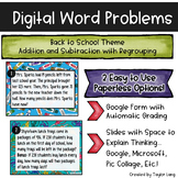 Digital Word Problems - Back to School Google Form & Googl