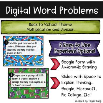 Digital Word Problems - Back to School - Multiply Divide - Google Slide & Form