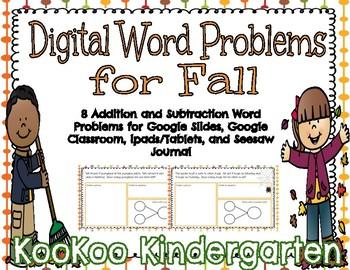 Digital Word Problems for Fall (Google Classroom, Seesaw, & Google Slides)