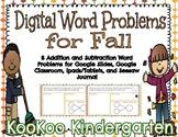 Digital Word Problems for Fall (Google Classroom, Seesaw,