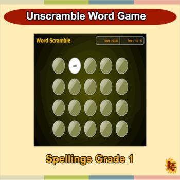 Grade 1, Year 2 Digital Word Scramble Game