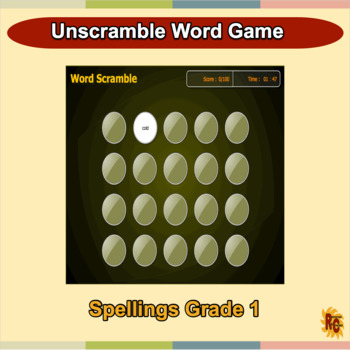 Spellings Interactive Word Scramble Game Grade 1