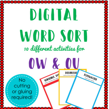 Digital Word Sort for Ou & Ow