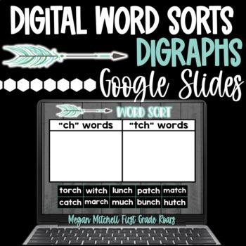 Digital Word Sorts DIGRAPHS using Google Slides