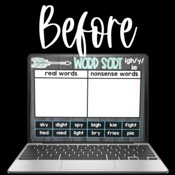 Digital Word Sorts LONG VOWEL TEAMS & CVCE WORDS using Google Slides