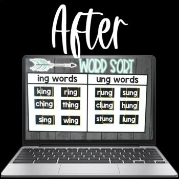 Digital Word Sorts NG Word Endings using Google Slides