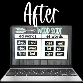 Digital Word Sorts Short Vowels using Google Slides