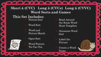 Digital Word Work ă and ā CVC CVCe & CVVC Word Sorts/Games/Activities Google App