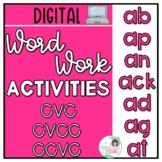 Digital Word Families Activities CVC CVCC CCVC - Short a