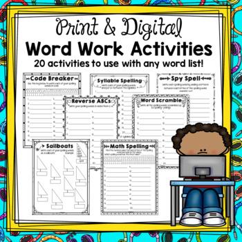 Digital Word Work Activities: Google Drive and Printable Option