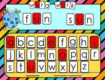 Digital Word Work Letter Tile Templates for Google Apps: Set 1