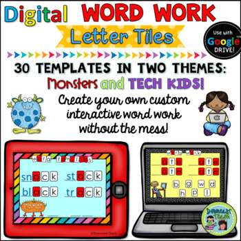 Digital Word Work Letter Tile Templates for Google Apps: Set 1