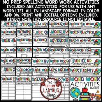 Digital Word Work Center & Spelling Activities Any List Words Distance Learning