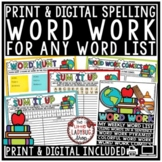 Digital Word Work Center & Spelling Activities Any List Wo