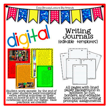 Digital Writing Journal (40 editable templates)