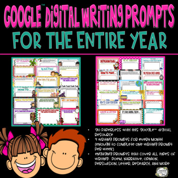 Digital Writing Journal Prompts for Google Drive