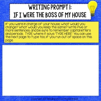 Digital Writing Prompt Collection for Google Drive