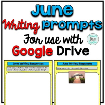 Digital Writing Prompts for Google Drive - June