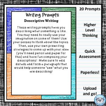 Digital Writing Prompts for the Intermediate Classroom:  Descriptive Writing