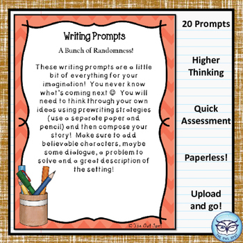 Writing Prompt Digital Task Cards:  General Writing Prompts