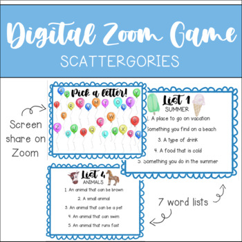 Digital Zoom Game Scattergories Virtual Learning Virtual Games Distance