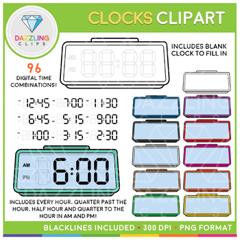 Digital and Analog Clock Clipart