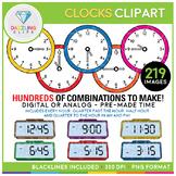 Digital and Analog Clock Clipart