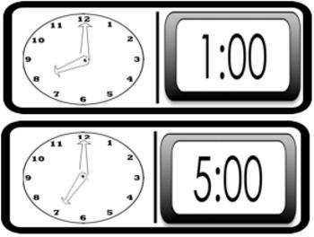 Digital and Analog Clock Dominoes