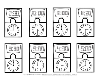 Digital and Analog Clock Telling Time Matching Puzzles