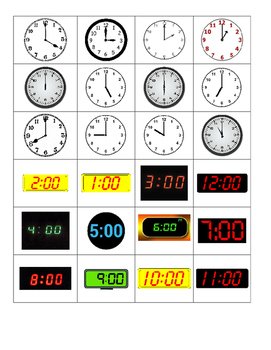 Digital and Analog Time Matching Game