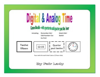 Digital and Analog Time to Quarter Hour - 5 Game Bundle