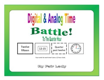 Digital and Analog Time to Quarter Hour - Battle! Game
