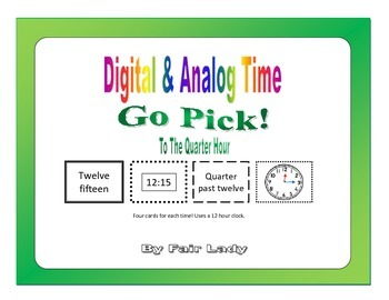 Digital and Analog Time to Quarter Hour - Go Pick! Game