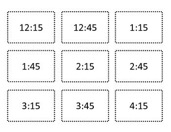 Digital and Analog Time to Quarter Hour - Go Pick! Game