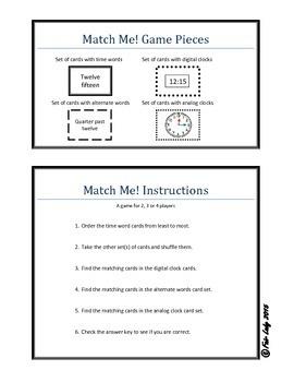 Digital and Analog Time to Quarter Hour - Match Me! Game
