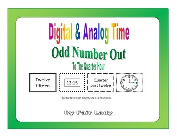Digital and Analog Time to Quarter Hour - Odd Number Out Game