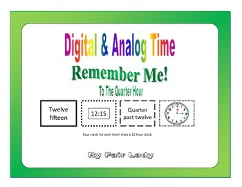 Digital and Analog Time to Quarter Hour - Remember Me! Game