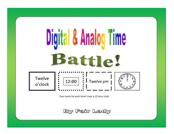 Digital and Analog Time to hour and half hour - Battle! Game