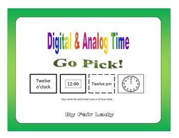 Digital and Analog Time to hour and half hour - Go Pick! Game