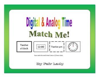 Digital and Analog Time to hour and half hour - Match Me! Game