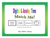 Digital and Analog Time to hour and half hour - Match Me! Game