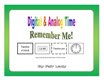 Digital and Analog Time to hour and half hour - Remember Me! Game