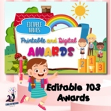 Digital and Printable Editable Awards Writing, Reading, Sc