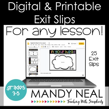 Digital and Printable Exit Slips | Exit Tickets For Any Lesson