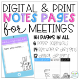 Digital and Printable Meeting Notes Pages