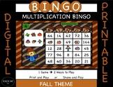 Digital and Printable Multiplication Bingo- FALL THEMED